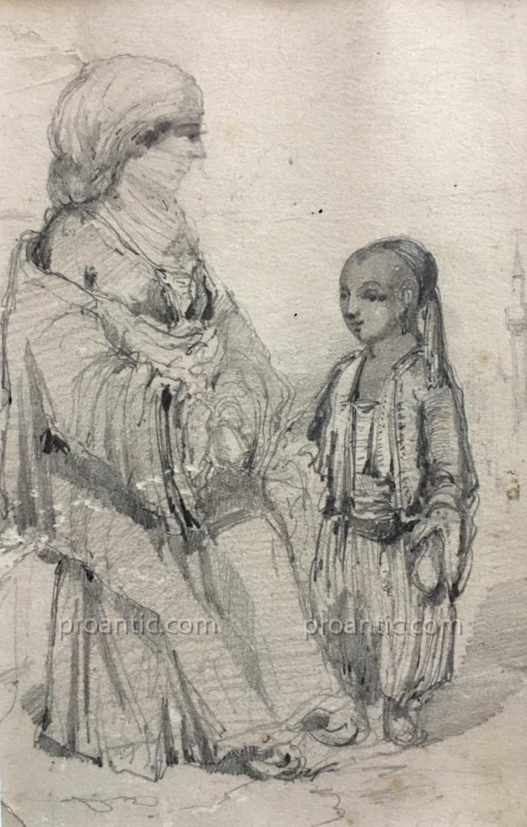 "ROUX Emile (1822-1915) "" Femme turque et son enfant "" Turquie Istanbul Bosphore-photo-2"