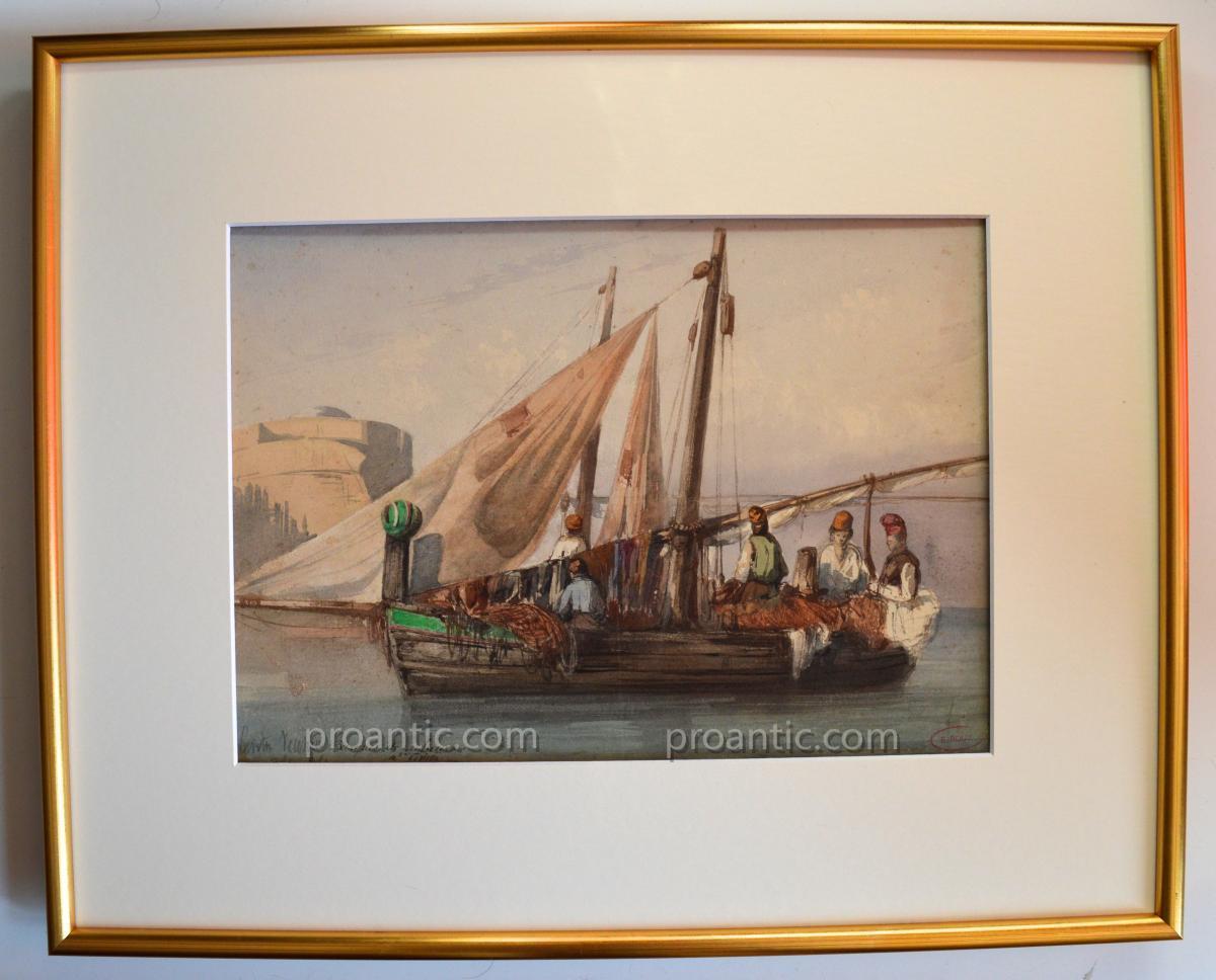 "ROUX Emile (1822-1915) "" Barques de pêcheurs à Civita Vecchia "" Italie Rome Latium"