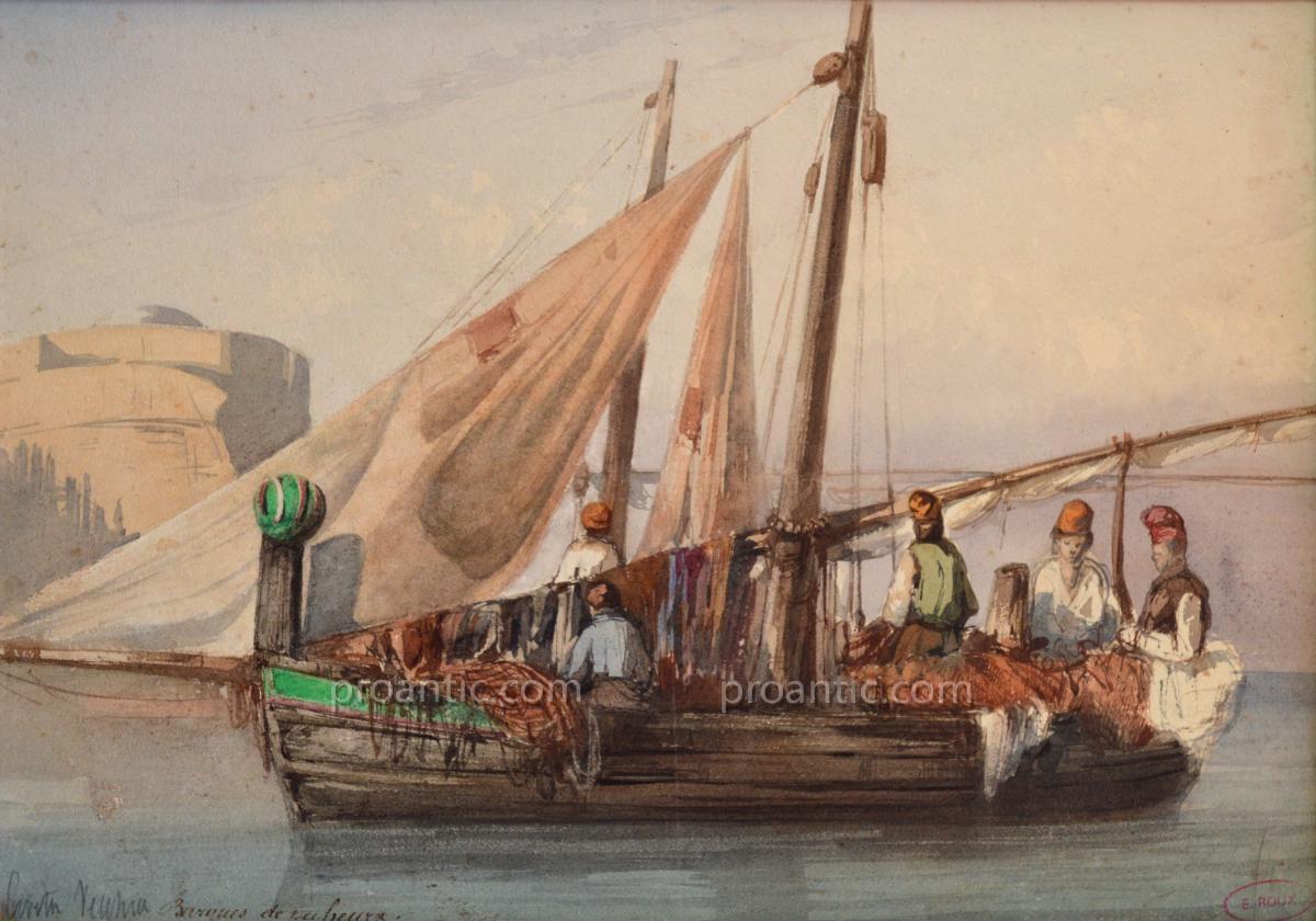 """ROUX Emile (1822-1915) """" Barques de pêcheurs à Civita Vecchia """" Italie Rome Latium -photo-2"""