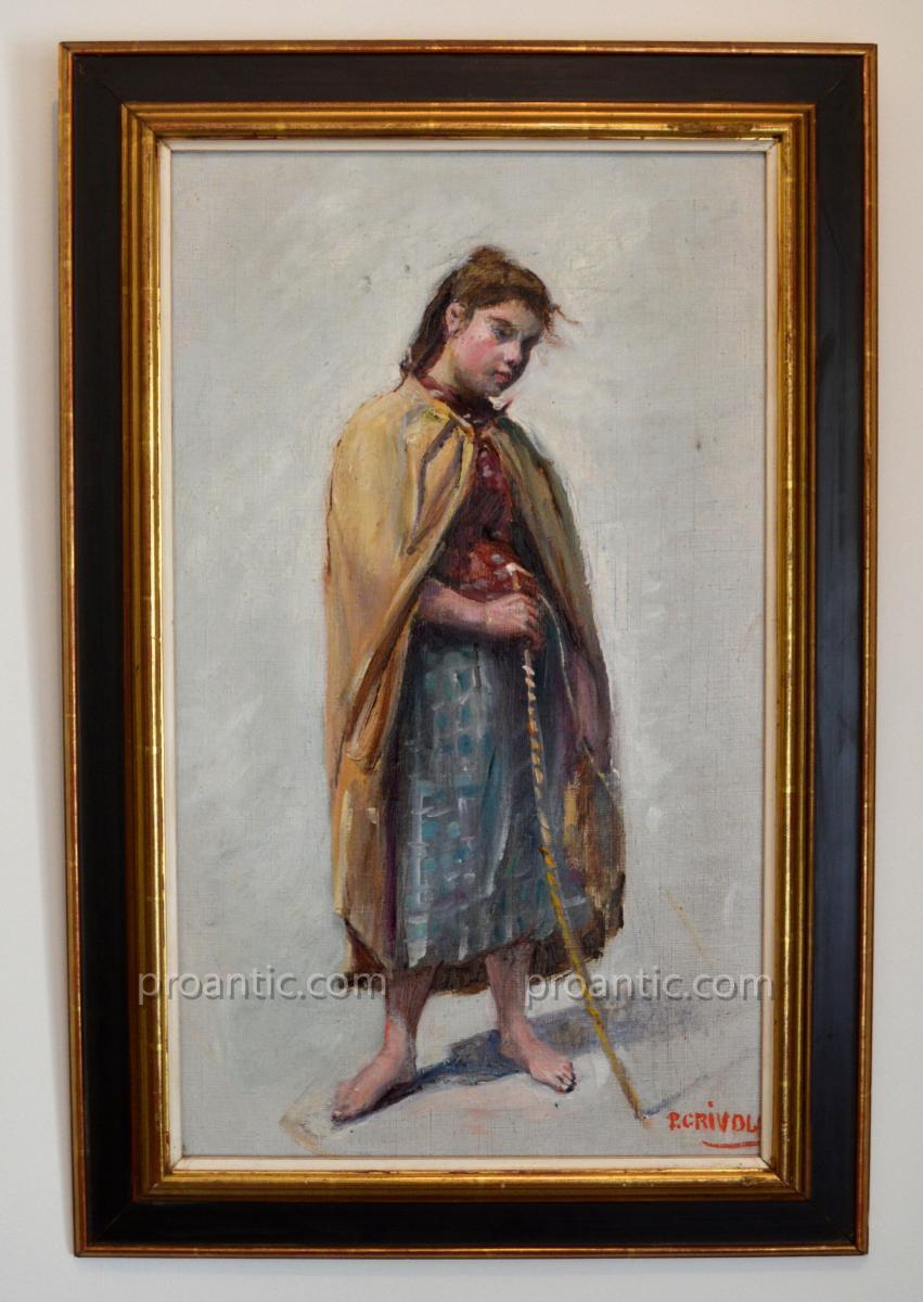 """Grivolas Pierre (1823-1906) """"young Shepherdess"""" Avignon Provence Ventoux Vaucluse"""