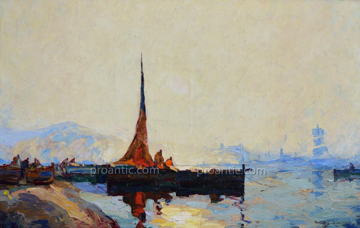 """PASTOUR Louis (1876-1948) """"Pêcheurs dans la baie de Cannes"""" Provence Antibes Suquet Nice"""