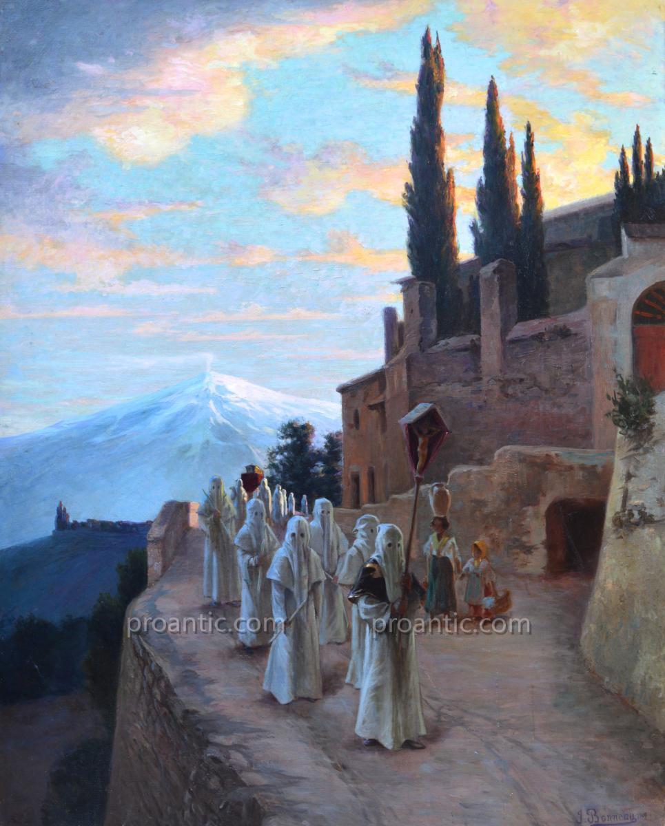 """BONNEAU Jacques (1875-?) """"Procession des Pénitents Blancs à Malaucène"""" Ventoux Provence Bedoin"""