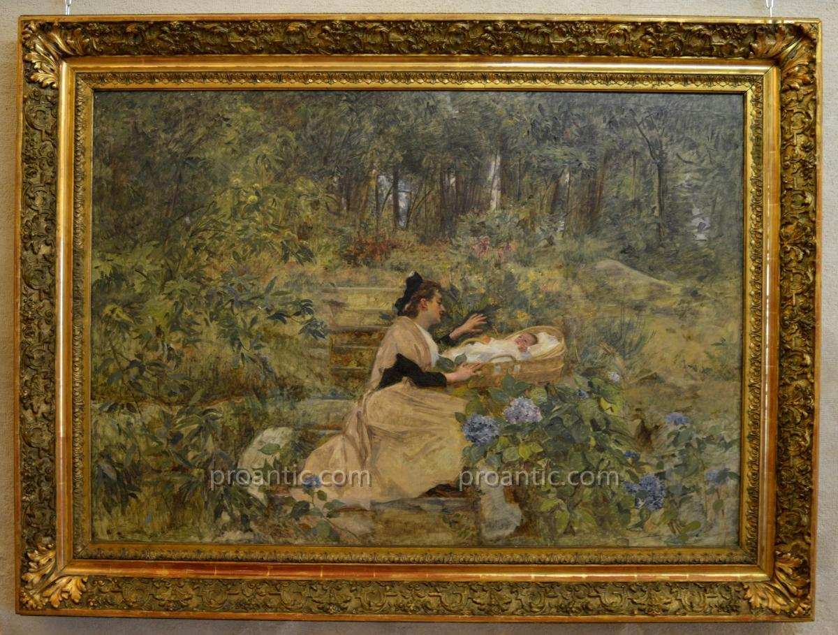 "LAHAYE Alexis (1850-1914) ""Arlésienne et son enfant"" Arles Nîmes Provence Avignon Marseille"