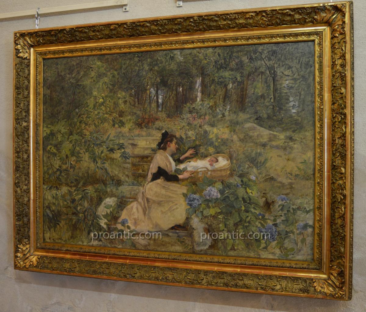 "LAHAYE Alexis (1850-1914) ""Arlésienne et son enfant"" Arles Nîmes Provence Avignon Marseille -photo-2"