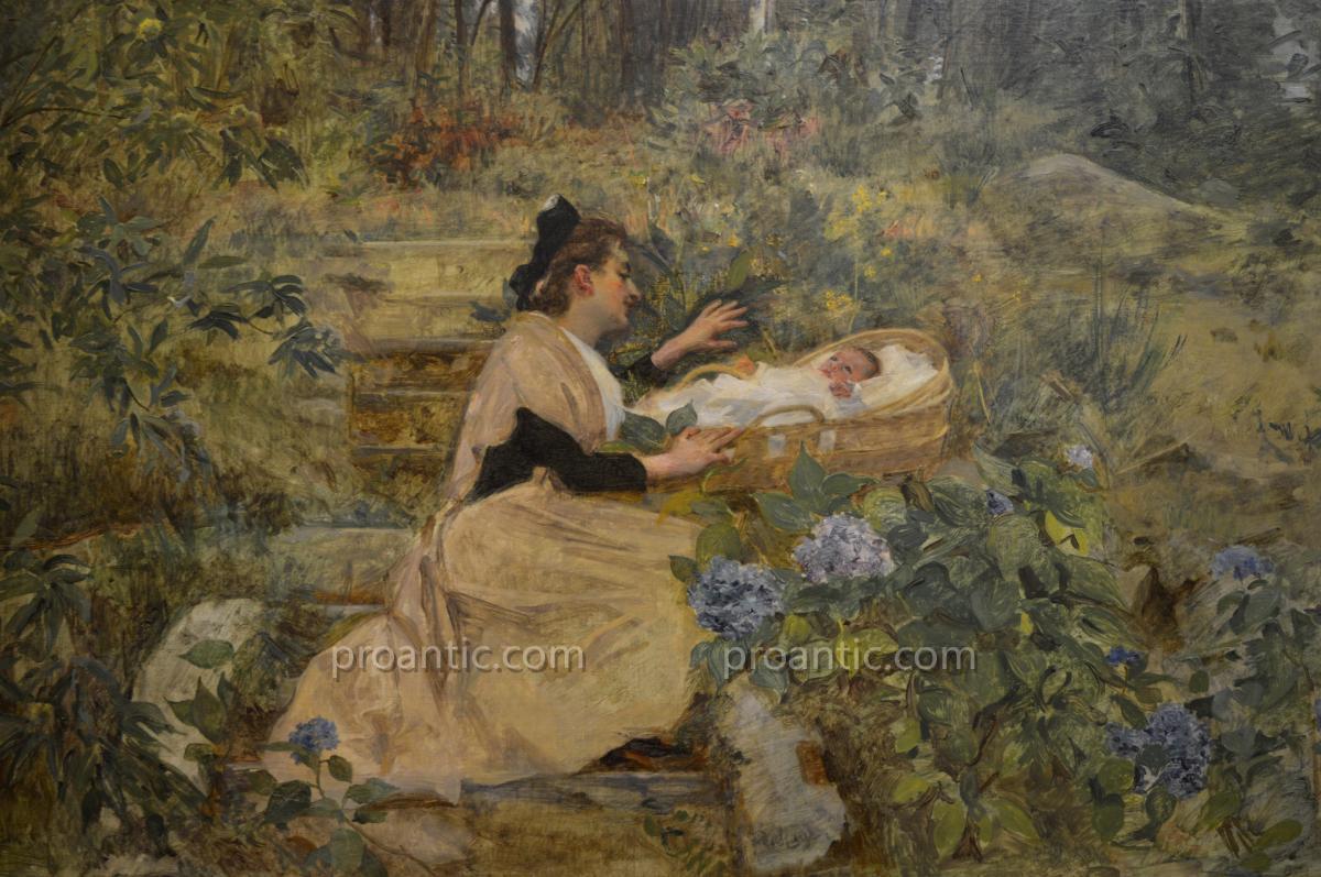 "LAHAYE Alexis (1850-1914) ""Arlésienne et son enfant"" Arles Nîmes Provence Avignon Marseille -photo-3"