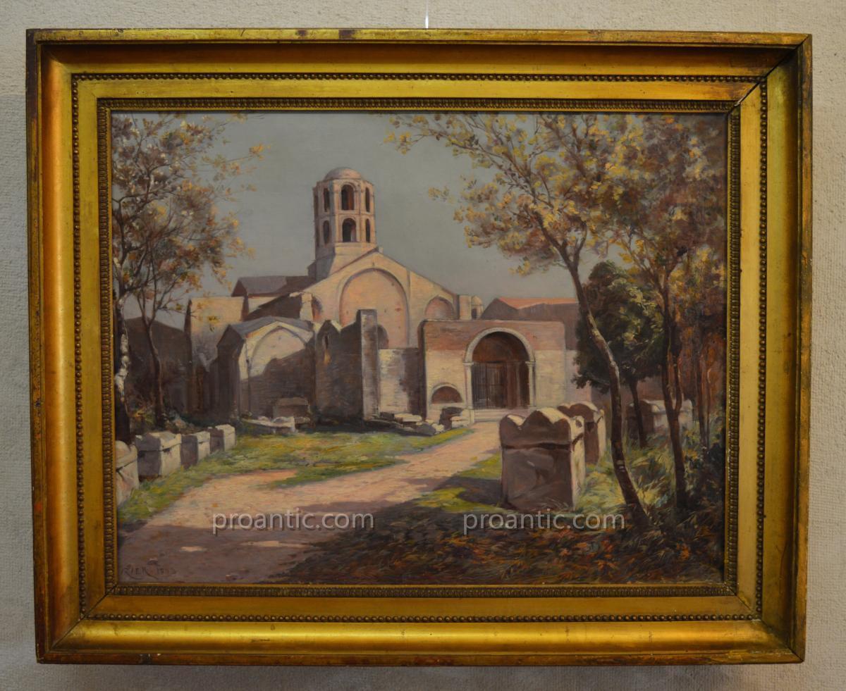 """IZIER Jules (XIX-XX) """"Les Alycamps et la Chapelle Saint Honorat à Arles"""" Provence Avignon"""