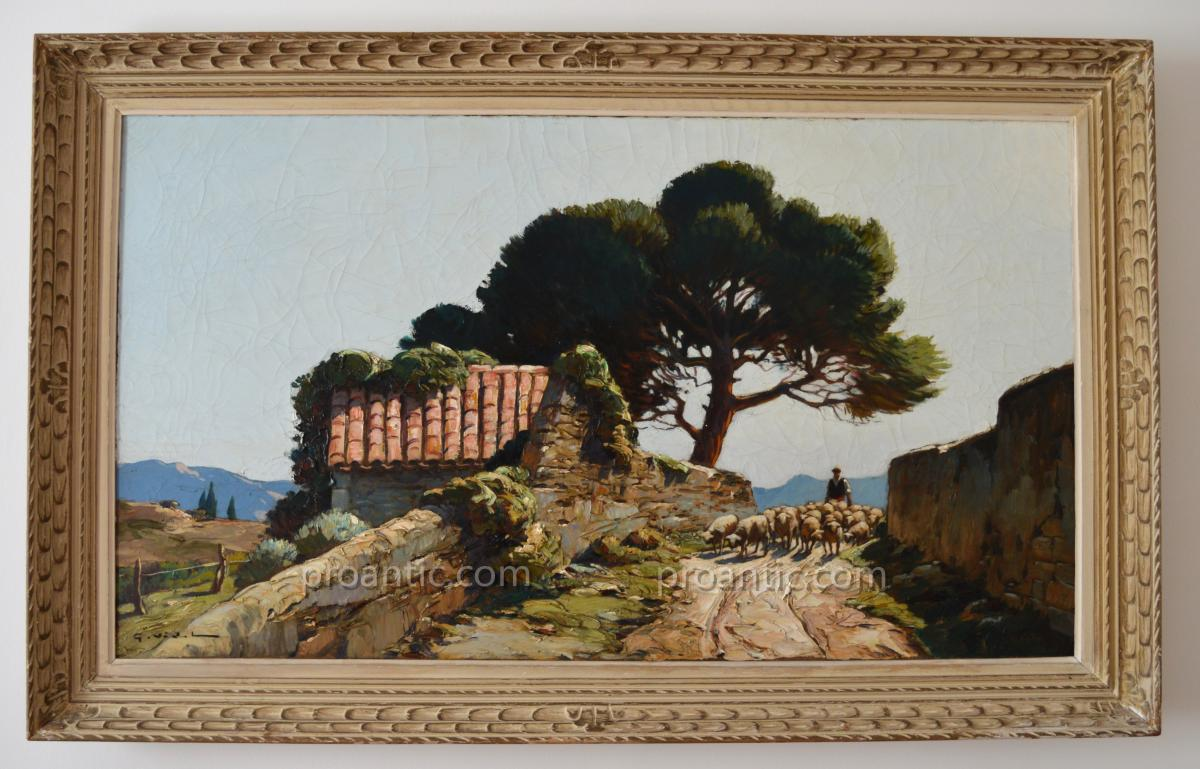 """VIDAL Gustave (1895-1966) """"Berger et son troupeau dans les Alpilles"""" Avignon Provence Marseille"""