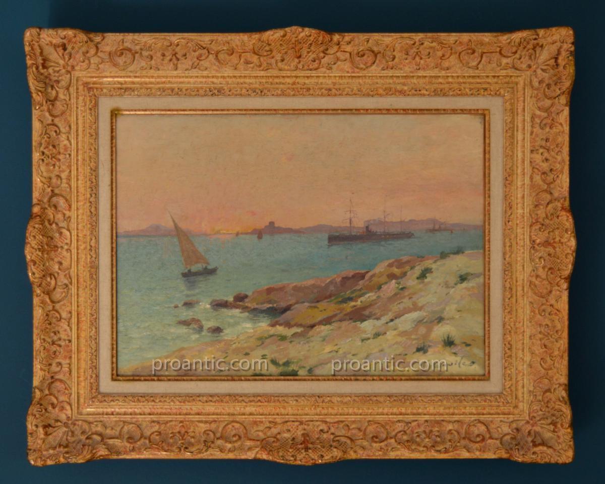 """CASILE Alfred (1848-1909) """"Coucher de soleil sur les îles du Frioul"""" Marseille Provence Boudin"""