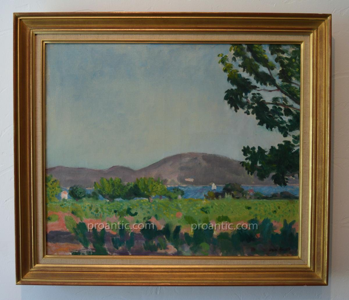 """VAN HASSELT Willem (1882-1963) """"Vue du Golfe de Saint-Tropez"""" Provence Var Pays-Bas Arcachon"""