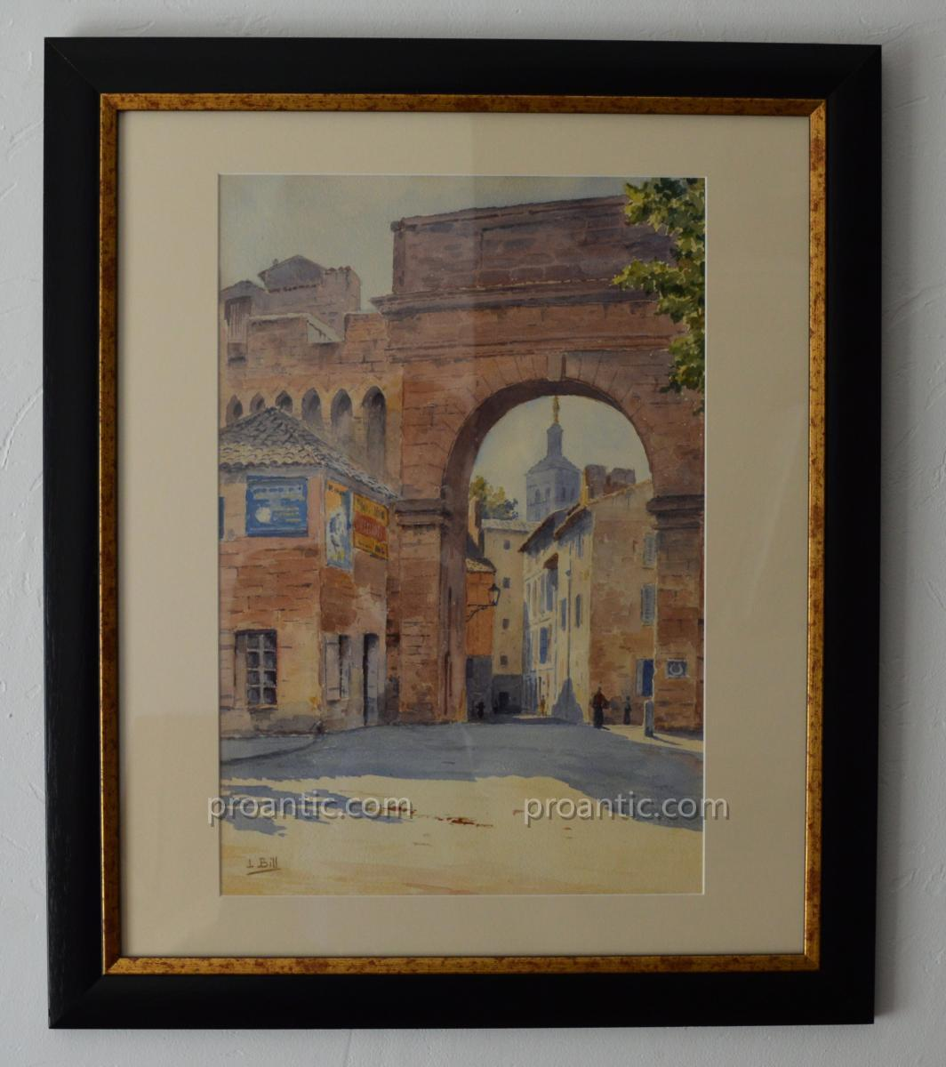 """Bill Lina (1855-1936) """"the Rhone Gate In Avignon"""" Gruissan Toulon Provence Aube Vaucluse"""