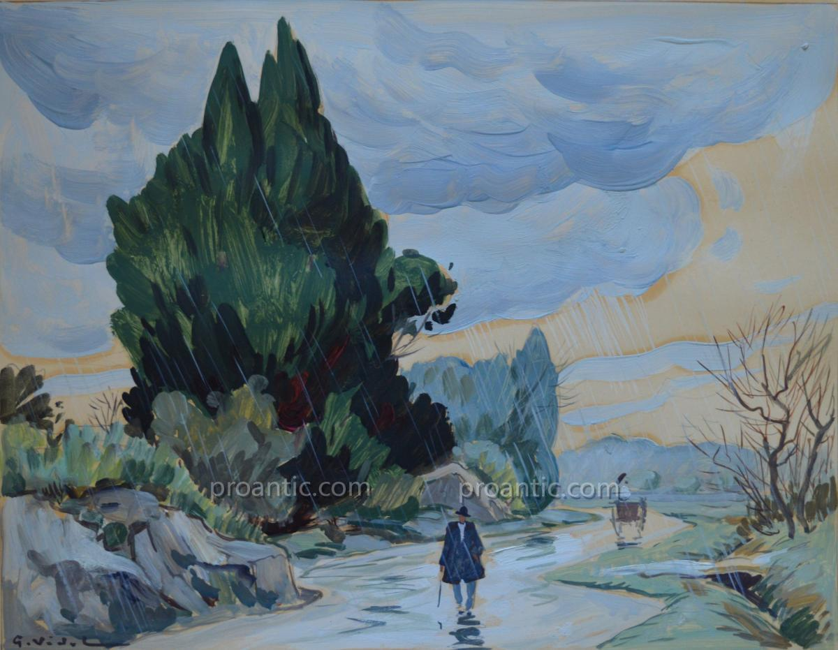 "Vidal Gustave (1895-1966) ""road In The Rain In The Alpilles"" Avignon Provence Eygalieres"