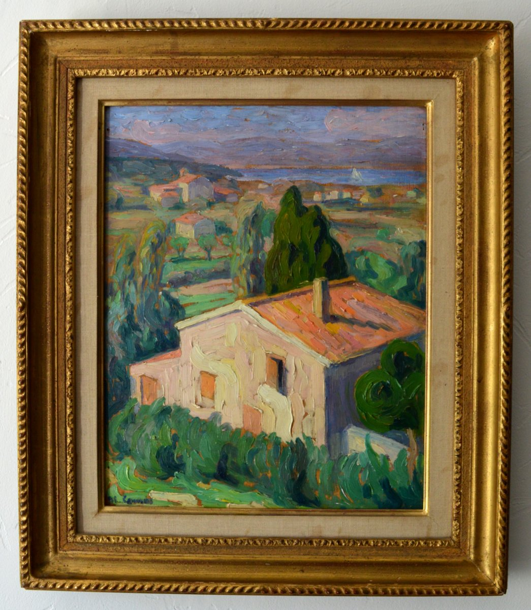 """Artiste Peintre St Tropez camus blanche (1881-1968) """"view of the bay of canebiers in"""