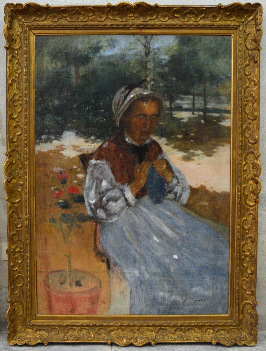 """PEGURIER Auguste (1856-1936) """"Nourrice dans le jardin de l'artiste, 1881"""" Saint Tropez Ramatuelle Impresionnniste"""
