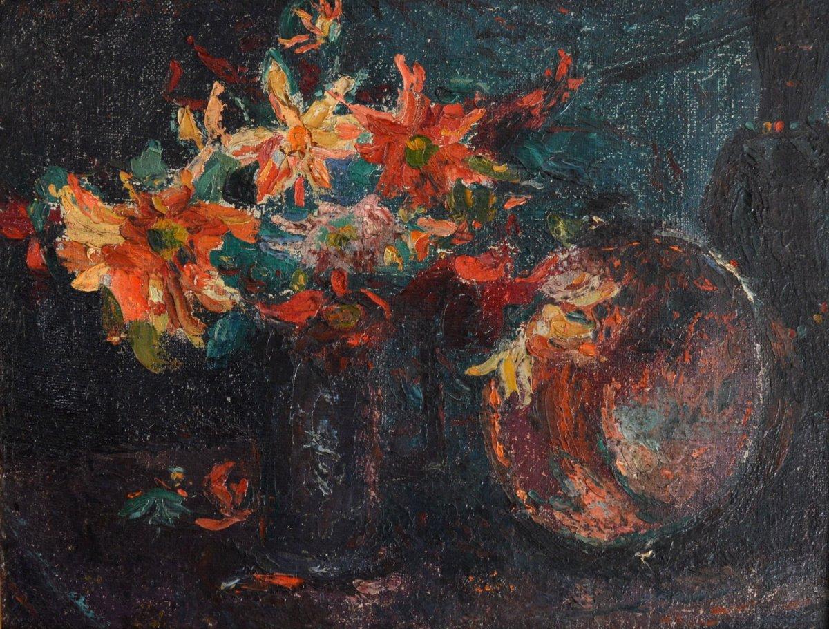 """GARD Léon (1901-1979) """"Nature morte aux fleurs et à la statue africaine"""" Paris Toulon Provence"""