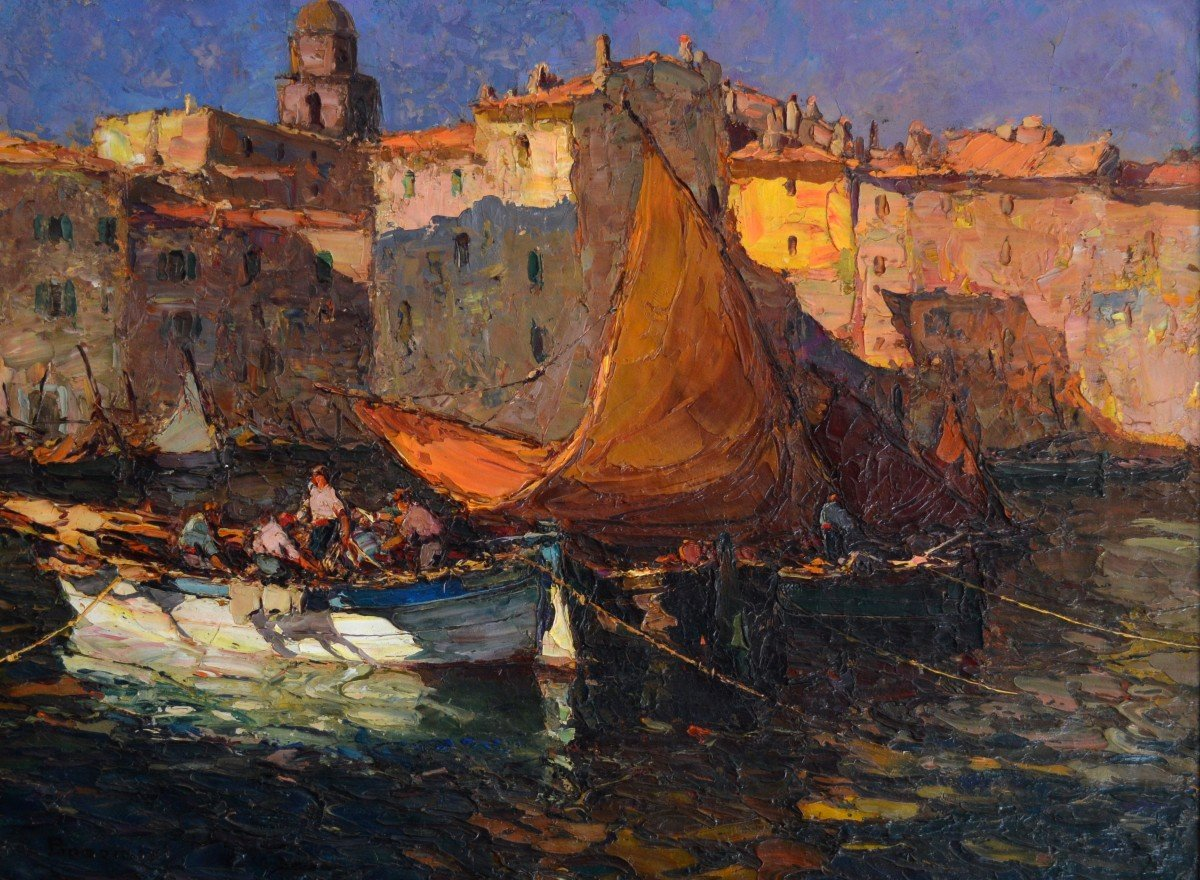 """Bonamici Louis (1878-1966) """"fishermen At Sunset In Saint-tropez"""" Provence Marseille Pastour"""