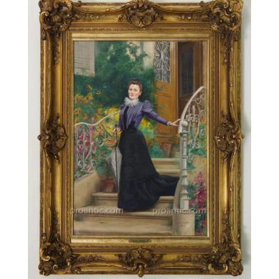 """LEMEUNIER Basile (1852-1922) """"Parisienne sur le Perron Fleuri"""", Paris 1900"""