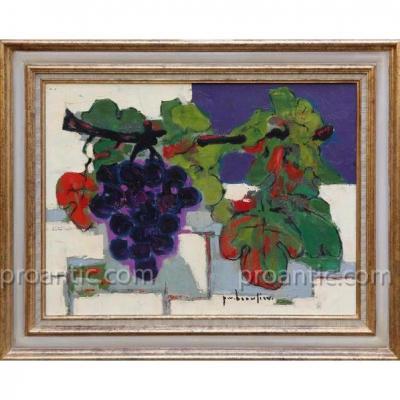 """VANIER BEAULIEU Paul (1910-1996) """" Nature morte aux raisins sur fond bleu """" Canada Québec"""
