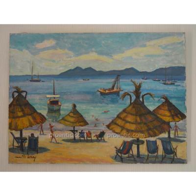 "LEROY Camille (1905 - 1995) "" Plage à Roquebrune Cap Martin "" Menton- Monaco - Palma"