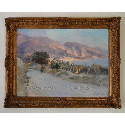 """ALLEGRE Raymond (1857-1933) """"Vue de Menton et de la baie du Garavan """" Marseille Italie Provence"""