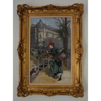 """LEMEUNIER Basile (1852-1922) """"Un trottin de Paris"""" Metropolitain Drouot"""