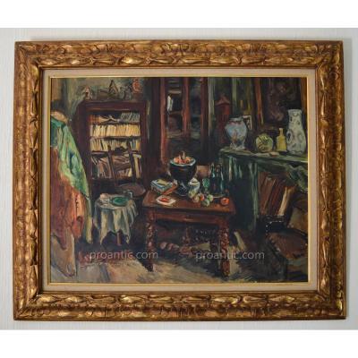 """OTHON FRIESZ Achille (1879-1949) """"Atelier de l'artiste, rue Notre Dame des Champs"""" Paris 1943"""