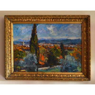"""DUCROS Edouard (1856-1936) """" Vue d'Aix En Provence"""" Cézanne Ravaissou"""