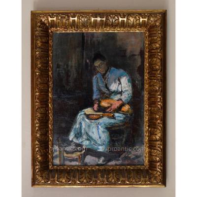 """GRIVOLAS Pierre (1823-1906) """" L'éplucheuse de légumes """" Avignon Provence Félibre"""