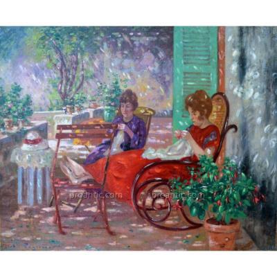 """PEGURIER Auguste (1856-1936) """"Mère et fille à la couture à Saint Tropez"""" Provence"""