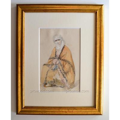 """ROUX Emile (1822-1915) """" Femme turque """" Turquie Istanbul Bosphore"""