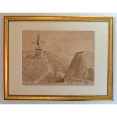 """ROUX Emile (1822-1915) """" Mausolée dans la montagne"""" Turquie Istanbul Constantinople Urartu"""