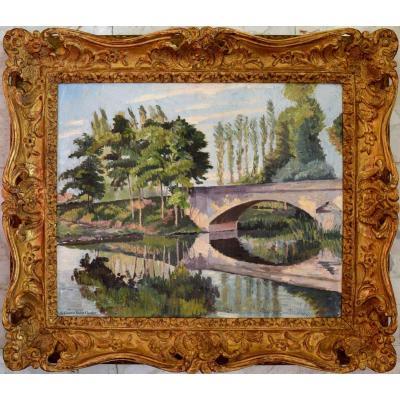 """PISSARRO Ludovic-Rodo (1878-1952) """"Le pont en Normandie"""" Pont du Vey à Clecy Impressionniste"""