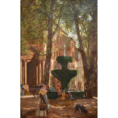 "ISNARD Jean-Roch (1845-1890) ""Place de la Grande Fontaine à Salon de Provence 1877"" Arles Aix"