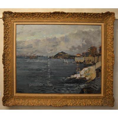 "DELPY Lucien-Victor (1898-1967) ""La corniche à Marseille, le soir"" Provence Marine Concarneau"