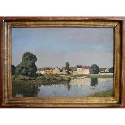 """COLOMBIER Léon (1869-1960) """"La Maison rose de Monet, Giverny"""" Paris Cavaillon Avignon Vernon"""