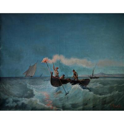 """TRACHEL Dominique (1830-1897) """"Pêche au lamparo dans la baie de Nice"""" Antibes Cannes Provence"""