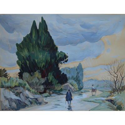 """VIDAL Gustave (1895-1966) """" Route sous le pluie dans les Alpilles"""" Avignon Provence Eygalieres"""