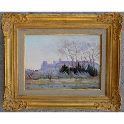 """MONTAGNE Louis (1879-1960) """"Vue du Palais des Papes depuis la Barthelasse"""" Avignon Provence"""