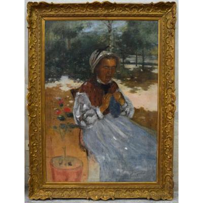 """PEGURIER Auguste (1856-1936) """"Nourrice dans le jardin à Saint Tropez, 1883"""" Var Provence Paris"""