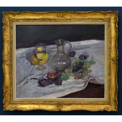 "GARD Léon (1901-1979) ""Nature morte aux fruits et à la carafe en cristal"" Paris Guitry Manet"