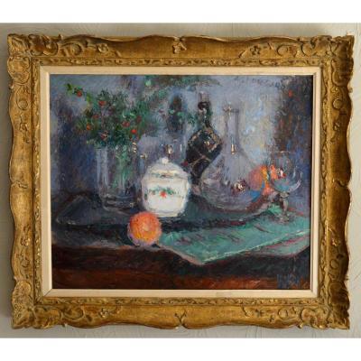 """GARD Léon (1901-1979) """"Nature morte aux ruscus et verreries"""" Toulon Paris Morigny Provence"""
