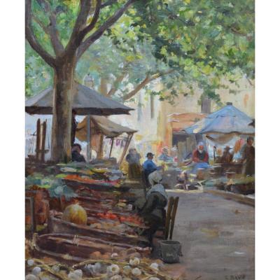 """BRUN Clément (1865-1920) """"Marché de la Place Pie à Avignon"""" Provence Vaucluse Grivolas"""