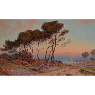 """BESINE Henri (1889-1976) """"La plage à Palavas les Flot"""" Hérault Montpellier Tarn Paris Languedoc"""