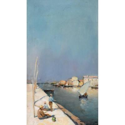 """DELLEPIANE David (1866-1932) """"Pêcheurs au Canal St Sébastien à Martigues"""" Marseille Provence"""