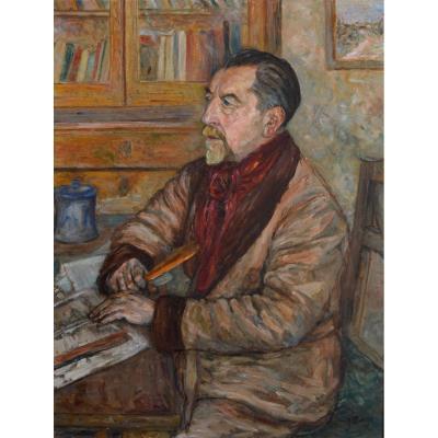 """Mange José (1866-1935) """"self-portrait Of The Artist"""" Toulon Félibre Poete Paris Provence Mistral"""