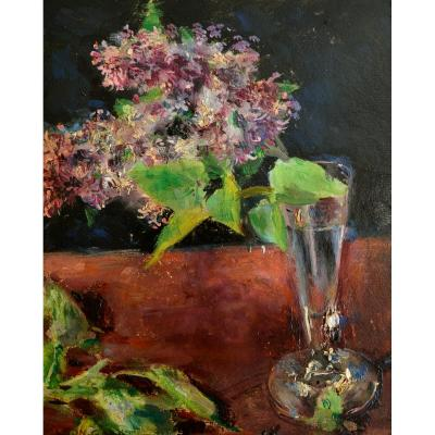 "Gard Léon (1901-1979) ""still Life With A Branch Of Lilac In A Glass"" Paris Morigny Tulle"