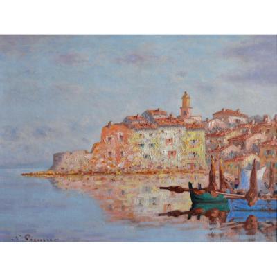 """PEGURIER Auguste (1856-1936) """"Le port de la Ponche à Saint-Tropez"""" Provence Paris Var Ramatuelle Monaco"""