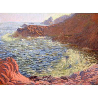 "Audra Paul (1869-1948) ""restless Seaside In The Estérel"" Var Frejus Saint-raphael Provence Nice"