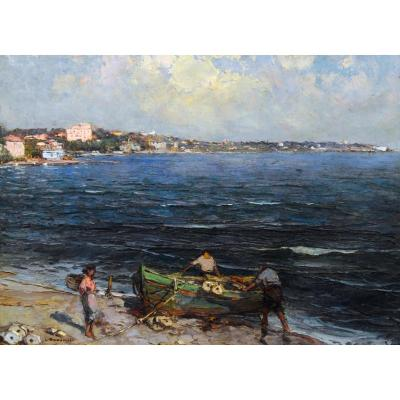 "Bonamici Louis (1878-1966) ""fishermen In The Bay Of Cannes"" Provence Antibes Marseille Paris Pastour Toulon"