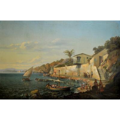 """BRONZE Antoine (1814-1895) """"La Villa Cloquet au Mourillon Toulon"""" Provence Courdouan Paris Seyne Marseille Var"""