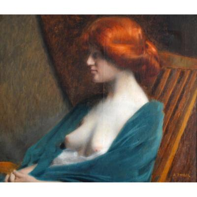 "Zwiller Augustin (1850-1939) ""seated Red Beauty"" Alsace Henner Mulhouse Paris Didenheim  Woman"